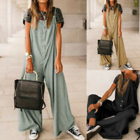 Women's Spaghetti Strap Jumpsuit Overalls Wide Leg Loose Romper Pants Playsuits