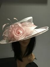 NIGEL RAYMENT SILVER GREY AND PINK WEDDING ASCOT HAT  MOTHER OF THE BRIDE