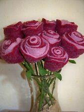 3 Rosen Rose Filz gefilzt Filzrose Filzblume Wollfilz Filzblüte Wolle Handarbeit