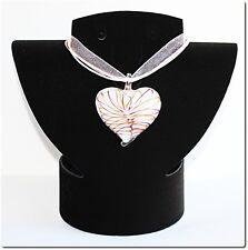 Pendentif cœur verre style murano blanc lampwork pendant mode amour valentin .