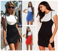 Womens Ladies Ribbed T-Shirt 2 in 1 Pinafore Strappy Slit Party Short Mini Dress