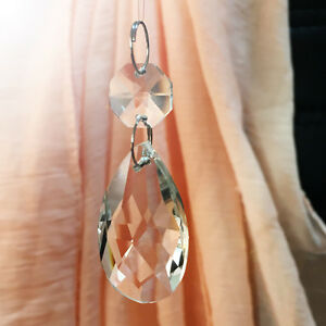 15x Clear Glass Crystal Chandelier Lamp Part Drops Prisms Hanging Pendant 38mm