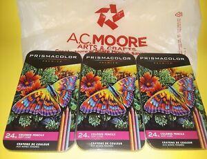 (3) THREE PRISMACOLOR PREMIER 24 CT. SOFT CORE COLORED PENCILS~BRAND NEW~BID@$1