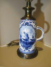 Blue Delf Lamp 3 way Electric Stein Stoneware Windmill Vintage 29 tall #EL24