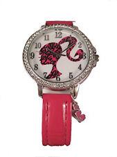 Barbie Analog Girls Pink Wrist Watch w/ Cute Hanging Charm