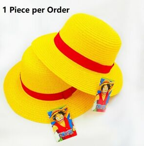 One Piece Luffy Costume Straw Hat Boater Beach Hat For Kids Size Anime Cosplay