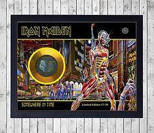 IRON MAIDEN SOMEWHERE IN TIME CUADRO GOLD/PLATINUM CD EDICION LIMITADA. FRAMED