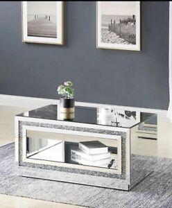 LARGE Mirror Coffee Table Crystal Livin Room Crushed Diamond Furniture 120x45x70