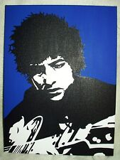 Canvas Painting Bob Dylan Blue Black & White Art 16x12 inch Acrylic