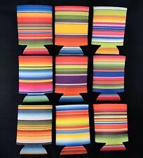 Serape Print Koozies, set of 9, plain koozies for monogram can or bottle cooler