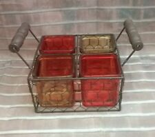Divided (4) Cuntry Basket Condiment Tray with 4 Serving Dishes