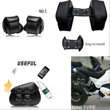 2X Motorcycle Bike Black PU Leather Side Saddle Luggage Bags Waterproof