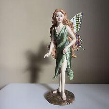 FAIRY STANDING LEAF DRESS BUTTERFLY METAL WINGS RESIN NEW Figurine  7.5 IN. NEW