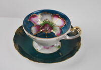 Antique Porcelain Footed Jewel tone Peony Fine china cup and saucer Green Pink