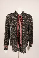 ModCloth Women's Musical Note Blouse Shirt Small Black Pink Long Sleeve NWOT