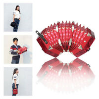 Concertina Accordion 20-Button 40-Reed Anglo Style Red with Bag+Free Ship L6L8