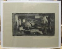 Luis Rengifo 1963 Abstract Cubist Aquatint Etching by Important Colombian Artist