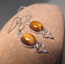 Sterling silver everyday style tiger's eye stone earrings. Gift bag