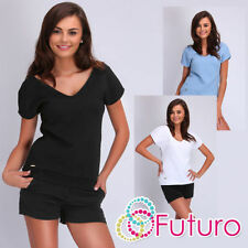 Textured V Neck Plus Size T-Shirts for Women