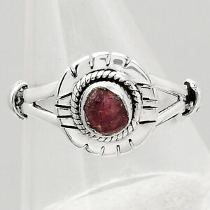 Natural Pink Tourmaline Rough 925 Sterling Silver Ring s.8 Jewelry E586