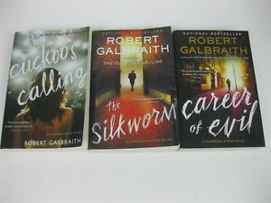 Robert Galbraith Lot 3 Cormoran Strike Cuckoo's Calling Silkworm Career of Evil