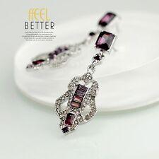 Boucles d`Oreilles Clips Argenté Art Deco Cristal Violet Retro Mariage Class YW6