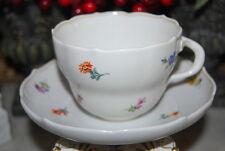 WONDERFUL MEISSEN HP DRESDEN FLOWERS BRANCH HANDLE LARGE COFFEE CUP & SAUCER