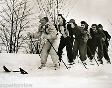 Old Time Skiing Worlds Largest Ski Six Women On One Ski Winter Clothing 1940