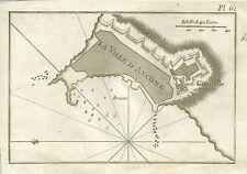1779 ANCONA Mappa portolana J. Roux Acquaforte su rame Marche Adriatico