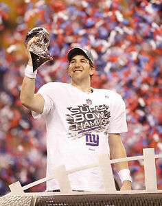 Eli Manning - NY Giants with 2012 Superbowl Trophy 8x10 Color Photo