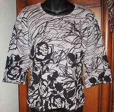 Designers Originals Black and Gray 3/4 Sleeve Sweater Size M EUC Womens