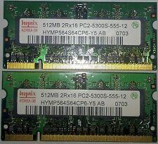 Hynix RAM SO-DIMM Memory HYMP564S64CP6-Y5 1GB (2X512MB) 2RX16 PC2-5300S-555-12
