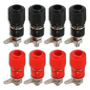 Binding Post Terminal Speaker Test Plug Socket Connector Red Black x 4 Pairs