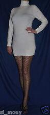 Women White Jumper Dress Funnel Neck Long Sleeve Cashmilon Size 8-10