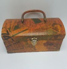 Vintage 1970s Handmade Wood Decoupage Box Purse w Lucite Handle Handmade Travel