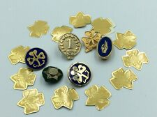 Vintage Lot Of 6 Girl Guides Girl Scouts Brooch Pins & Gold Foil Stickers A++