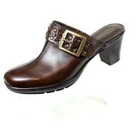 Clarks Bendables Women's Mules Clogs Slip On Shoes Brown Leather Buckl Size 8 M