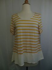 Style & Co Petite Stripe Print High Low Knit Top Gold Raisin Yellow PL #3323