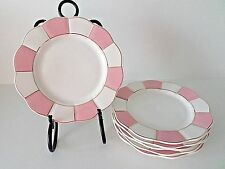 Cynthia Rowley Porcelain Salad Plates Pink White Scalloped Border Set Of 6 New