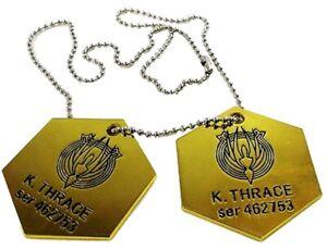 Battlestar Galactica K. Thrace Themed Metal Dog Tag Necklace Set