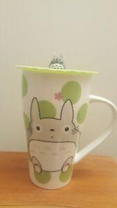 Totoro Mug With Silicone Lid 16oz Tea cup  Green Dot