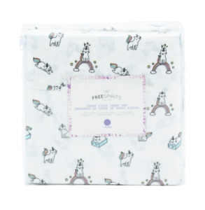 NEW FULL DOUBLE SIZE SHEET SET DOG PRINT WHITE /GRAY PUPPY PRINT DOGS