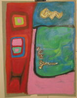 Rare 1964 John S Cipot ABSTRACT EXPRESSIONIST Oil Pastel Painting - Listed USN