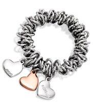Fiorelli Rose Gold & Rhodium Swarovski Crystal Triple Heart Valentines Bracelet