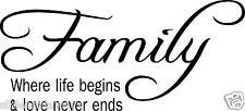 Family Where life begins wall art vinyl decal/sticker words decor family room