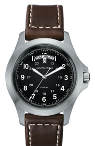 New Hamilton Khaki Field King Black Dial Leather Band Men's Watch H64451533