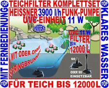 SUPERKLARER TEICH >12000 L: TEICHFILTER KOMPLETTSET+FUNK-TEICHPUMPE+11 W UVC NEU