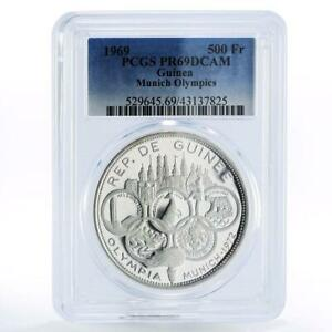 Guinea 500 francs Munich Olympic Games Olympic Rings PR69 PCGS silver coin 1969