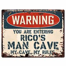 PP4131 WARNING RICO'S MAN CAVE Chic Sign Home man cave Decor Funny Gift