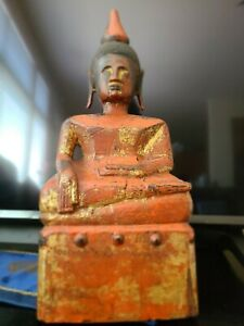 """Antique 16"""" Burmese Wooden Gilded Seated Buddha - Shan State 17th -19th Century"""